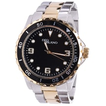Silver & Gold Two Tone Bracelet Watch With Black Dial & Bezel