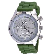 Khaki Silicon Watch With Attractive Silver Dial