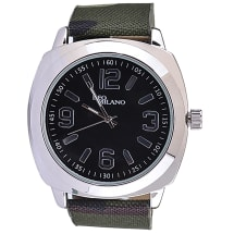 Khaki Patterned Canvas Strap Watch With Black Dial And Silver Case