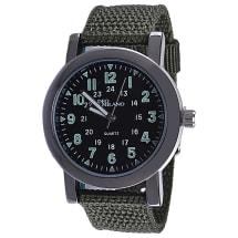Khaki Canvas Strap Watch With Black Dial