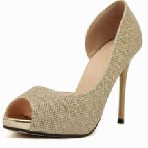 Ladies Peep Toe Stiletto Heel - Gold