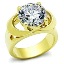 Stainless Steel CZ Engagement Ring TK1409 | Gold