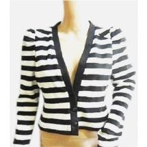 Black & White Stripe Long Sleeve Cardigan