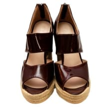 Brown Patent Wedge Shoe