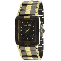 Chain Wristwatch With Block Face - Black & Gold