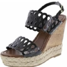 Chop Out Wedge Sandals - Black