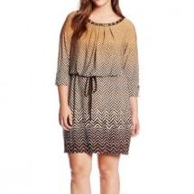 Embellished Neck Blouson Print  Dress