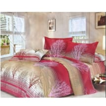 King Sized Bed Sheet with Four Pillow Cases- Rose & Beige