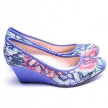 Lacy Female Wedge Shoes - Blue