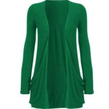 Ladies Waterfall Cardigan Top - Green