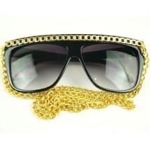 Lady Gaga Gold Chain Sunglasses - Black