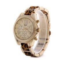 Leopard Skin and Gold Case Two Tone Bezel Female Wristwatch