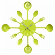 Lime Green Cutlery Wall Clock