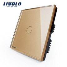 Livolo Golden Crystal Glass Dimmer Touch Panel Switch VL-C301D-63 AC110-250V