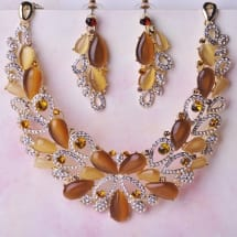 Luxury Bridal Party Opal Crystal Set - Gold Amber