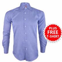 Mason Tiny Stripe Formal Shirt - Blue & White/AM-SHIRT-251156