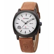 Men's Leather Wristwatch - White Dial