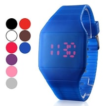 Men's Red LED Digital Square Rubber Band Watch - Blue