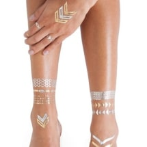 Metallic Silver And Gold Flash Tattoos | 3 Sheets