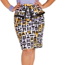Mixed Print Peplum Skirt | Multicolour