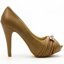 Pleated Metal Peep Toe Heel
