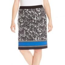 Plus-Size Blue Mischief Ponte Pencil Skirt