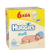 Pure Baby Wipes 6 x 64 Pack