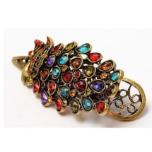 Retro Vintage Colorful Crystal Peacock Hairpin