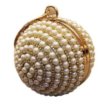 Round Crystal Pearl Evening Clutch Bag - Gold
