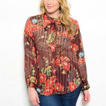 Rust Brown Flowered Plus Size Top