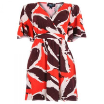 Short Sleeve Belted Dress - Multicolour