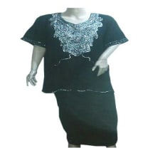 Silver Sequin Black Short Sleeve Top & Wrapper