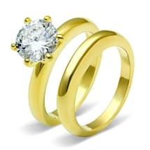 Stainless Steel CZ Wedding Ring TK097G | Gold