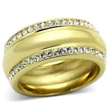 Stainless Steel Crystal Band Ring TK109 | Gold