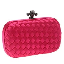 String Knot Satin Woven Purse - Pink