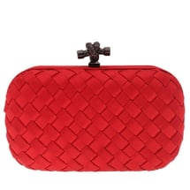 String Knot Satin Woven Purse - Red