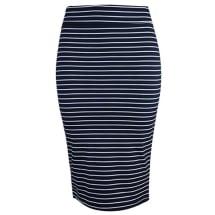 Striped Pencil Midi Skirt | Navy & White