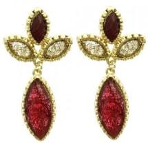 Textured Metal Earrings - Red