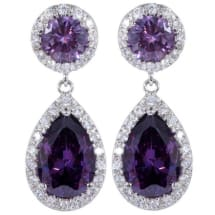Water Drop Crystal Earrings - Purple