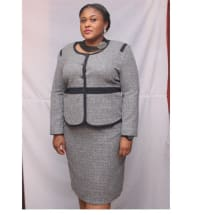 Women's Plus Size Skirt Suit - Grey