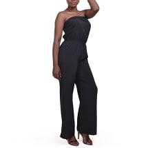 Strapless Wide Leg Jumpsuit - Black