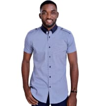 Checked Short Sleeve Shirt with Shoulder Flap | Sapphire Blue