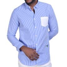 Men's Stripe Long Sleeve Shirt - Blue