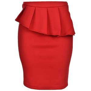 Pleated Peplum Skirt | Red