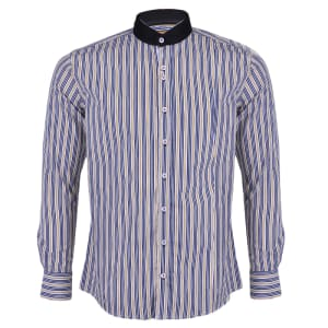 Men's Contrast Striped Long Sleeve Button Down Shirt -Yellow