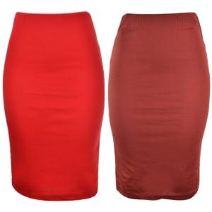 Carol Midi Skirt   Red & Brown