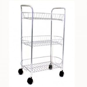 3 Tier Trolley Storage Rack - Silver