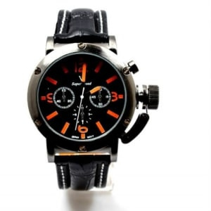 Leather Casual Men's Watch - Black