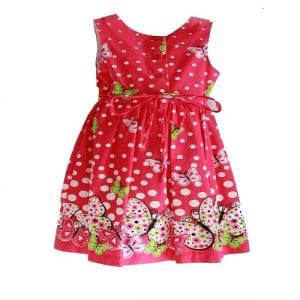 Polka Dot Flower Dress with Belt for Girls - Pink