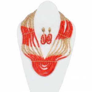 7 Layered Fragment Crystal Beads - Orange & Gold